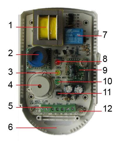Конструкция бытового детектора утечки газа Кенарь GD100-CN